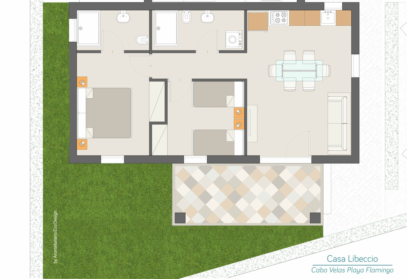 Casa Libeccio Planimetria - Cabo Velas - Boutique Residences Playa Flamingo