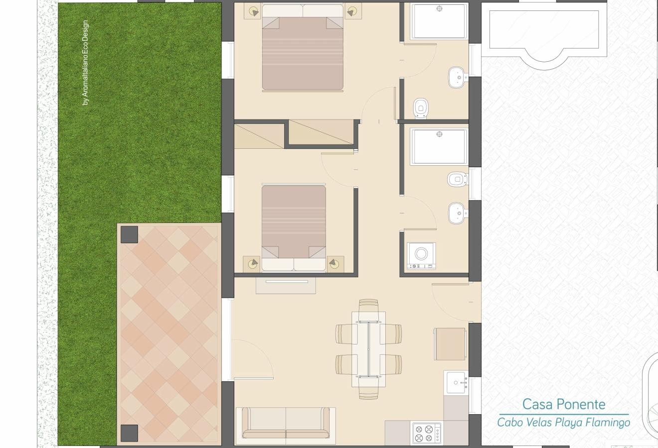 Casa Ponente - Planimetria Cabo Velas - Boutique Residences Playa Flamingo
